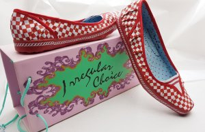 Irregular Choice - Slip-On Sneaker Slippers -NEU- 37/38, Checker Rockabilly Rot/Weiß