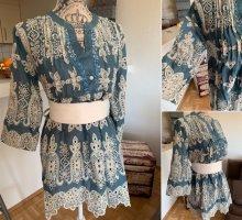 Italy Baumwoll Bluse/Tunika/Kleid - JeansBlue/Creme - OneSize - Stickereien