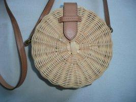 J.Crew Rattan Tasche Umhängetasche Circle Straw Crossbody Bag mit Leder