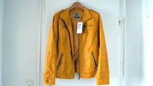 Zabaione Faux Leather Jacket gold orange polyurethane