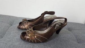 Jane Klain Damen Peeptoes Slingpumps Pumps bronze Größe 38 NEU