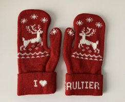 Jean Paul Gaultier Mittens dark red-natural white