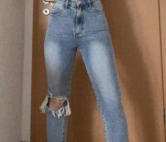 Vanezia Spodnie typu boyfriend niebieski