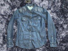 Jeans Bluse mit Pailletten