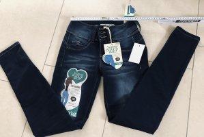 Junge collection Pantalon cigarette bleu foncé-bleu