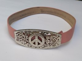 Leather Belt pink-silver-colored leather