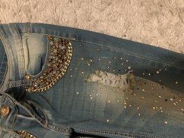 pantalón de cintura baja gris pizarra-color oro