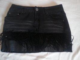 Jeans Rock Anthrazit mit Fransen Gr. S