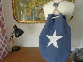 Pouch Bag steel blue-white mixture fibre