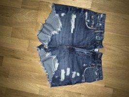 Zara Pantalón corto de tela vaquera azul oscuro