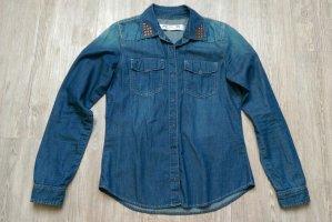 Jeansbluse Nieten blau Clockhouse 38/40