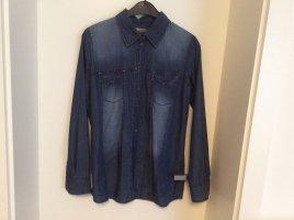 Comma Bluzka jeansowa stalowy niebieski
