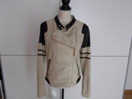 keine Biker Jacket cream-black cotton