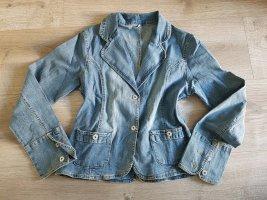 Spijkerblazer staalblauw-azuur