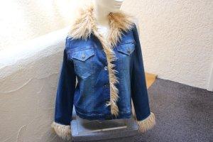 #Jeansjacke m. Kunstpelz, #blau, Gr. 40/42, #Stretch, #Übergangsjacke, #Used-Effekte