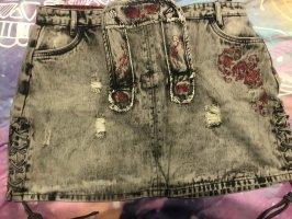 Black Premium by EMP Jeansowa spódnica szary-głęboka czerwień