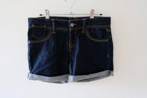 Stradivarius Denim Shorts dark blue cotton
