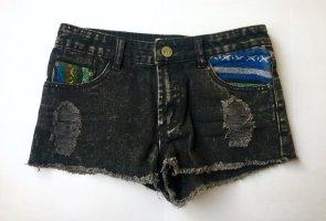 Jeansshorts Ethnostyle schwarz
