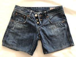 Herrlicher Short en jean bleu acier coton