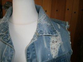 Gilet en jean bleu acier coton