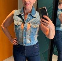 Gilet en jean bleu azur