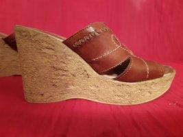 Jennifer Taylor Leder Sandalen Gr.38 Keilabsatz 11cm, Plateau 3cm