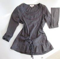 Jersey Tunika Shirt SHE Größe 40 M Grau meliert Spitze Raffung Bluse Langarm Spitze Lagenlook Shabby Romantisch