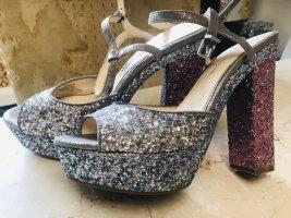 Jessica Simpson Damen Schuhe High Heels 40  Silber Pink Glitzer