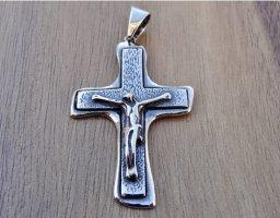 Jesus Christ Anhänger Kruzifix Sterling Silber 925 Religiös Handmade Schmuck