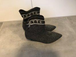 Jette Joop Peep Toe Booties silver-colored-black