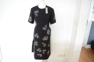 JIL SANDER Blumen besticktes schwarzes Etuikleid NEU! 36 Kleid
