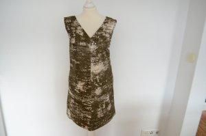 JIL SANDER kurzes Kleid NEU! 34 im 20s/40s Style Oliv Silber lamiert