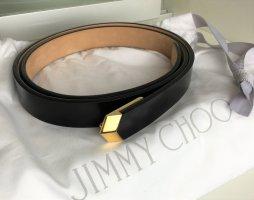 Jimmy Choo Cinturón de cuero negro-color oro Cuero