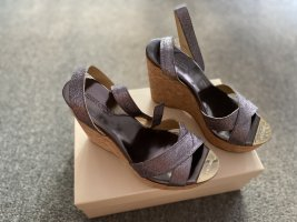 Jimmy Choo Wedge Sandals silver-colored-slate-gray