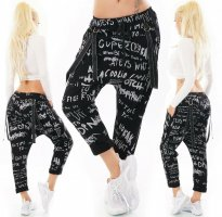 Made in Italy Harem Pants black-white cotton