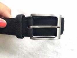 Joop! Cinturón de cuero negro-color plata