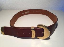 Joop! Cinturón de cuero marrón-color oro