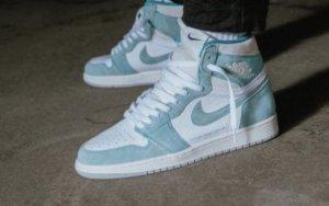 Jordan Zapatillas altas turquesa-blanco