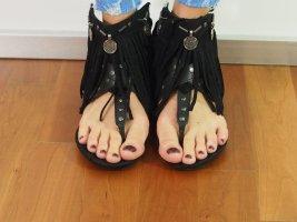 Juliet Pantoufles-chaussette noir cuir