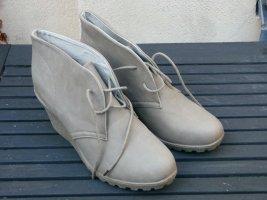 Jumex Bottine à talon compensé beige clair cuir
