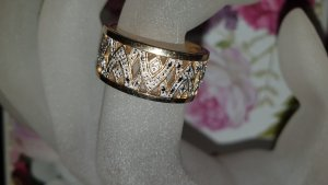 Gold Ring multicolored real gold