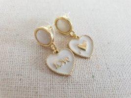Boutique Ware Wiszące kolczyki biały-złoto
