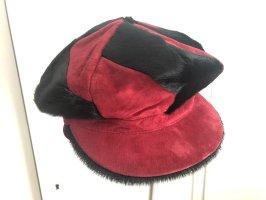 Cappello da panettiere nero-rosso scuro Pelle