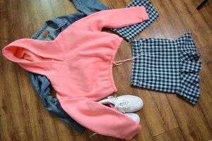 Kapuzen Cropped Sweater Gr. 38 in rosa süß