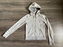 Kapuzenjacke Sweatshirtjacke hoodie Hoddy grau weiß meliert Muster Bänder