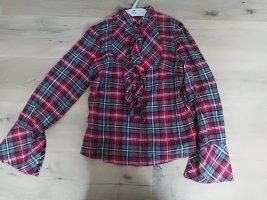Mango Ruche blouse antraciet-donkerrood