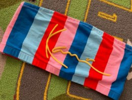 Karl Kani Top a fascia rosso mattone-blu neon