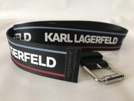 Karl Lagerfeld Pasek z materiału czarny