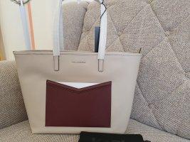 Karl Lagerfeld K/Mau Shopper beige nude bordeaux weinrot silber tasche handtasche schultertasche