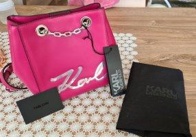 KARL LAGERFELD K/Signature Calfskin Bucket Bag Orchid